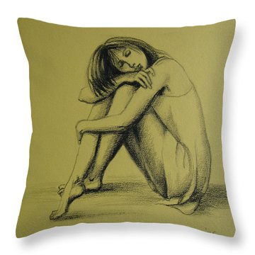 Throw Pillow featuring the drawing Day Dreaming by Elena Oleniuc