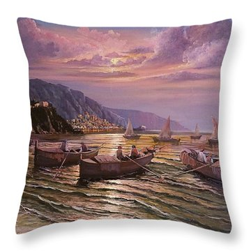 Day Ends On The Amalfi Coast Throw Pillow