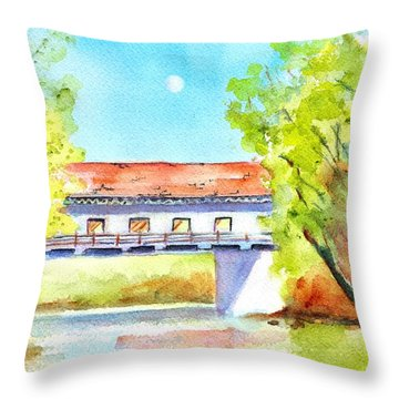 Day Moon Over Covered Bridge Throw Pillow