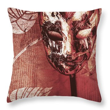 Day Of The Dead Carnival Mask Throw Pillow