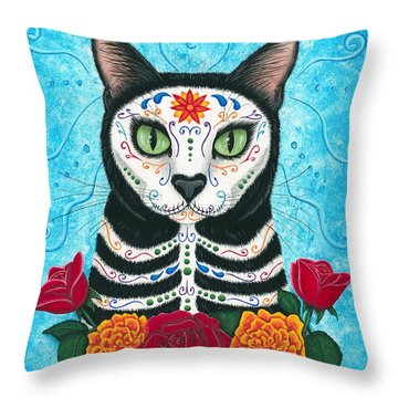 Day Of The Dead Cat - Sugar Skull Cat Throw Pillow