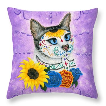 Day Of The Dead Cat Sunflowers - Sugar Skull Cat Throw Pillow