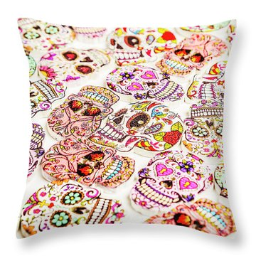 Day Of The Dead Colors Throw Pillow