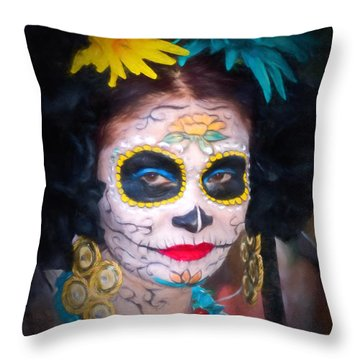 Day Of The Dead Flower Lady Throw Pillow