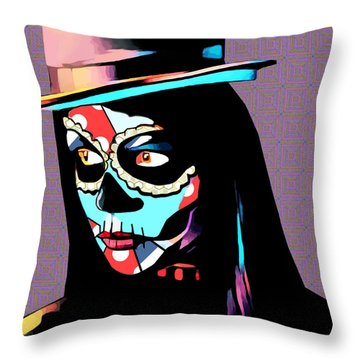 Day Of The Dead Skull Woman Wearing Top Hat Throw Pillow