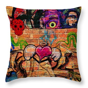 Day Of The Dead Street Graffiti Throw Pillow