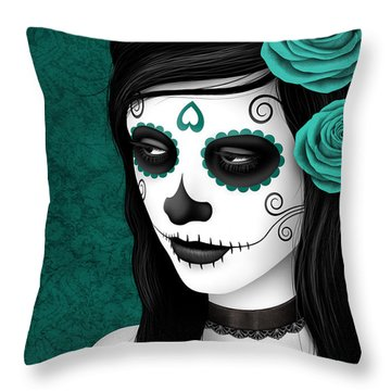 Day Of The Dead Sugar Skull Woman With Teal Blue Roses Throw Pillow by Jeff Bartels