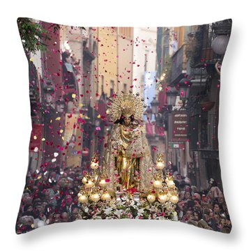 Day Of The Virgen De Los Desamparados Throw Pillow