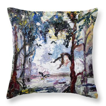 Throw Pillow featuring the painting Daybreak In The Okefenokee by Ginette Callaway