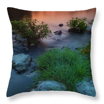 Daybreak Over The Old Riverbed Throw Pillow