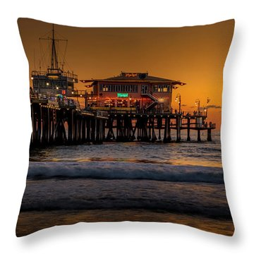 Daylight Turns Golden On The Pier Throw Pillow
