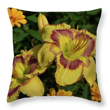 Daylilies And Zinnia Throw Pillow