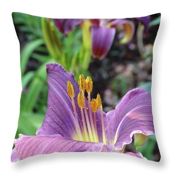 Daylilies In Purple Throw Pillow