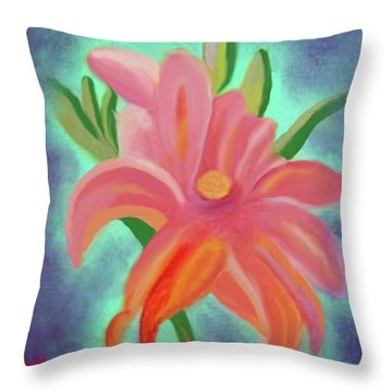 Daylily At Dusk Throw Pillow by Margaret Harmon