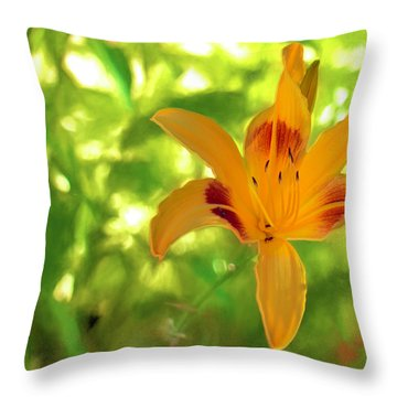 Throw Pillow featuring the digital art Daylily by Charles Ables