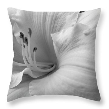 Daylily Delight In Black And White Throw Pillow