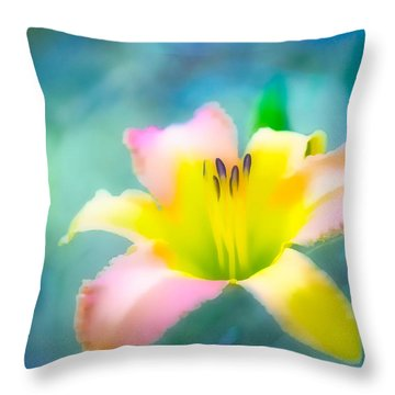 Daylily In Blue Throw Pillow