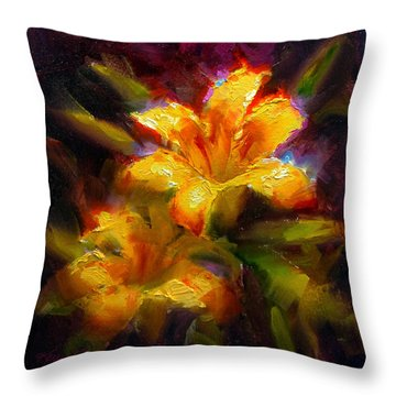 Daylily Sunshine - Colorful Tiger Lily/orange Day-lily Floral Still Life  Throw Pillow