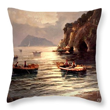 Day's End And Work Begins In The Gulf Of Naples Throw Pillow