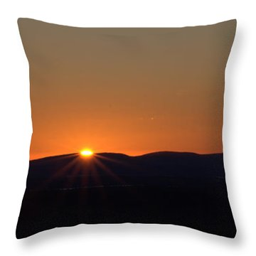 Throw Pillow featuring the photograph Days First Light I Hdr by Greg DeBeck