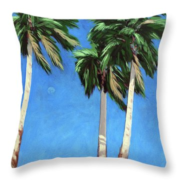 Throw Pillow featuring the painting Daytime Moon In Palm Springs by Linda Apple