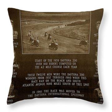 Daytona 200 Plaque Throw Pillow by David Lee Thompson