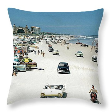 Daytona Beach Florida - 1957 Throw Pillow by Merton Allen