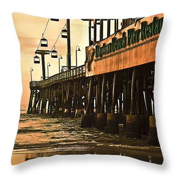 Daytona Beach Pier Throw Pillow by Carolyn Marshall