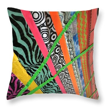 Dazzling Delirious Duct Tape Diagonals Throw Pillow by Douglas Fromm