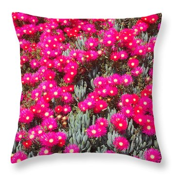 Dazzling Pink Flowers Throw Pillow