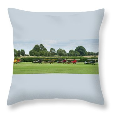 Throw Pillow featuring the photograph De Havilland Tiger Moths Line-up by Gary Eason