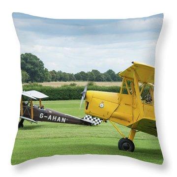 Throw Pillow featuring the photograph De Havilland Tiger Moths Taxiing by Gary Eason