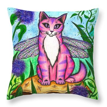 Dea Dragonfly Fairy Cat Throw Pillow