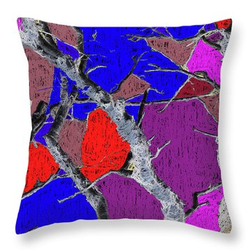 Dead Birch Abstract Dark Throw Pillow