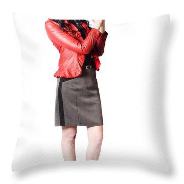 Throw Pillow featuring the photograph Dead Female Secret Agent Holding Hand Gun by Jorgo Photography - Wall Art Gallery