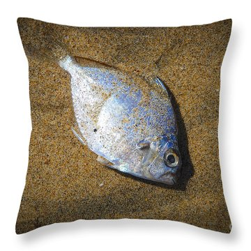 Dead Fish On The Beach Throw Pillow by Perry Van Munster