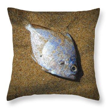 Dead Fish On The Beach Throw Pillow