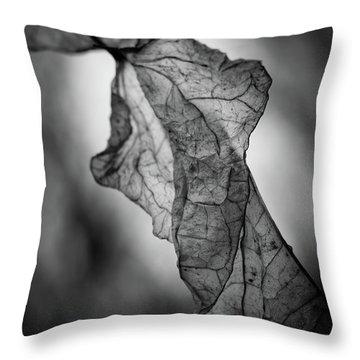 Fragile Leaf Bw Throw Pillow