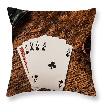 Dead Mans Hand A Gun And A Shot Of Whiskey Throw Pillow by Semmick Photo