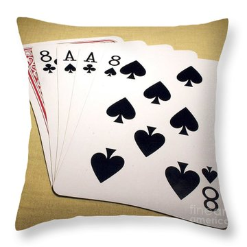 Dead Mans Hand Throw Pillow by Pg Reproductions