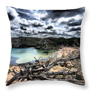 Dead Nature Under Stormy Light In Mediterranean Beach Throw Pillow by Pedro Cardona