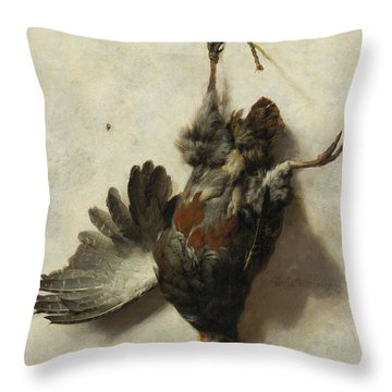 Dead Partridge Hanging From A Nail Throw Pillow
