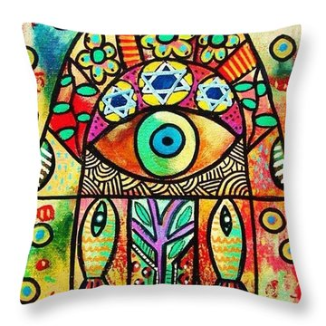 Dead Sea Fish Hamsa Throw Pillow