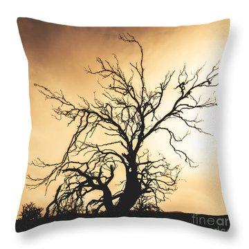 Dead Tree Silhouette Throw Pillow