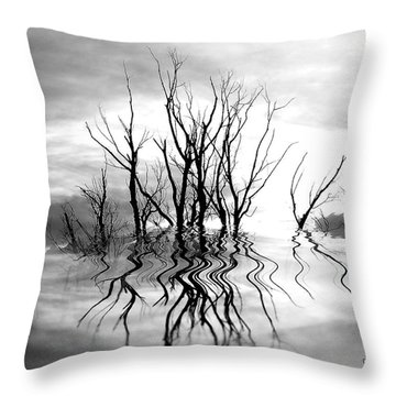 Throw Pillow featuring the photograph Dead Trees Bw by Susan Kinney