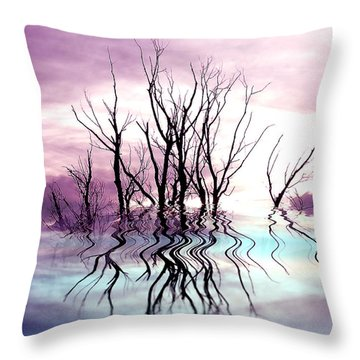 Throw Pillow featuring the photograph Dead Trees Colored Version by Susan Kinney