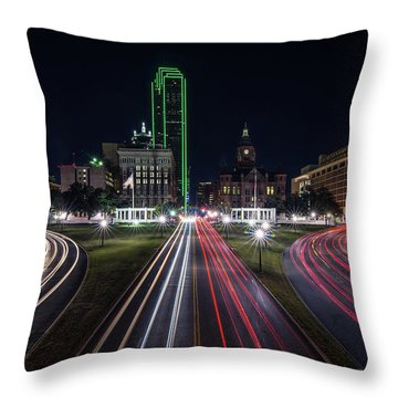 Dealey Plaza Dallas At Night Throw Pillow