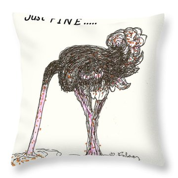 Throw Pillow featuring the drawing Dealing Just Fine by Denise Fulmer
