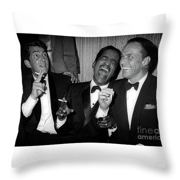 Dean Martin, Sammy Davis Jr. And Frank Sinatra Laughing Throw Pillow