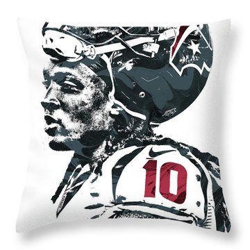 Throw Pillow featuring the mixed media Deandre Hopkins Houston Texans Pixel Art 2 by Joe Hamilton